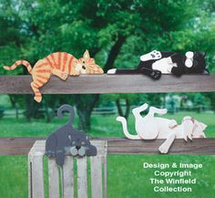 All Yard & Garden Projects - Lazy Rail Cats Woodcraft Pattern