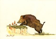 He's super cute! Wild boar eating mushroom Watercolor painting by Juan bosco...