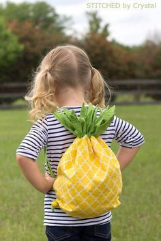Easy Sewing Projects to Sell - Pineapple Drawstring Backpack - DIY Sewing Ideas for Your Craft Business. Make Money with these Simple Gift Ideas, Free Patterns, Products from Fabric Scraps, Cute Kids Tutorials http://diyjoy.com/sewing-crafts-to-make-and-s