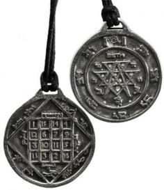 Love talisman. An amulet inscribed with seals and inscriptions taken and created from the Hebrew Qabalah and designed to invoke the love of YWHW. Has cord. Pewter. 1""