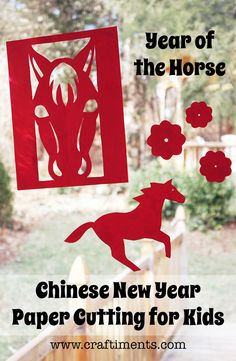 Craftiments: Chinese New Year paper cutting craft for children, includes free paper-cut patterns for the Year of the Horse