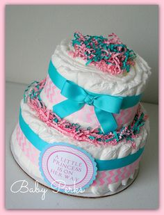 Pink , aqua Princess diaper cake, Little princess diaper cake , Princess baby shower , turquoise, baby shower decorations on Etsy, $36.99