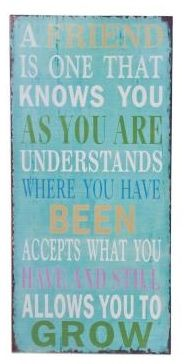 Earth de Fleur Homewares - A friend is one that knows you as you are, understands where you have been, accepts what you have...Inspirational Wall Tin Sign