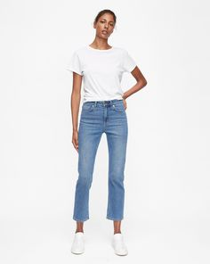 Filippa K Stella Washed Jeans Blå Who What Wear, Stretch Jeans, Blue Denim, Indigo, Ted, Organic Cotton, Sneaker, Tights, Blouses