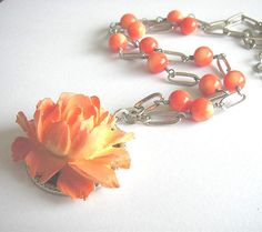 Large coral flower pendant and coral gemstone by bunnyboutique, $56.00