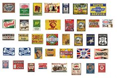 1:43 Scale Model Vintage Garage Signs Set 1 Stickers Decals Gloss Finish