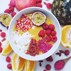 Mango smoothie bowl  Simply blend 1 mango, 1 frozen banana, 1 peach, the juice of one orange and 1 teaspoon baobab  Topped with passionfruit, raspberries, freeze dried raspberry, goji berries, raw...