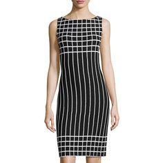 St. John Santana Striped Sleeveless Sheath Dress ($471) ❤ liked on Polyvore featuring dresses, bkbw, striped dress, stripe dress, black stripe dress, st john dresses and straight dress