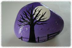 Purple Night #tree #painted #rock #stone