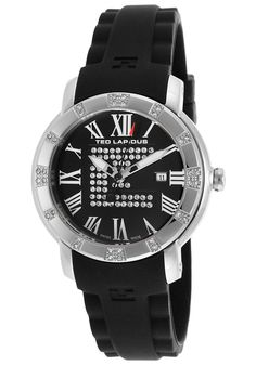 Ted Lapidus Watches Women's Crystal Black Silicone and Dial A0532GNRNSM,    #TedLapidus,    #A0532GNRNSM,    #Fashion