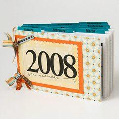 calendar album: create using digital photo collages. fun cover + easy to navigate tabs