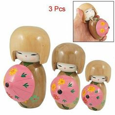 """Rosallini 3 Pcs Floral Pink Umbrellar Beige Kimono Japanese Kokeshi Doll Ornament by Rosallini. $16.36. Main Color: Beige, Pink; Net Weight: 258g. Min. Overall Size: 7.5 x 4cm/ 2.9"""" x 1.6"""" (L*D). Package Content: 3 x Kokeshi Doll. Material: Wood; Max. Overall Size(Approx.): 12 x 6cm/ 4.7"""" x 2.3"""" (L*D). Product Name: Kokeshi Doll. This Kokeshi doll with round head, round body design, is the most popular traditional folk crafts in Japan.Features dotted flower pattern..."""