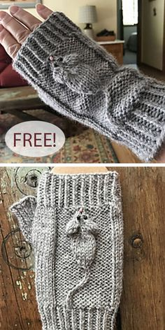 Free Knitting Pattern for Mousey Mitts - A cable mouse plays on the back of these fingerless mitts knit in the round. Designed by Karen Hoyle. crafts fingerless mitts Free Knitting Pattern for Mousey Mitts Baby Knitting Patterns, Hand Knitting, Crochet Patterns, Baby Blanket Knitting Pattern Free, Knitted Socks Free Pattern, Cable Knitting, Afghan Patterns, Knit Mittens, Knitted Hats