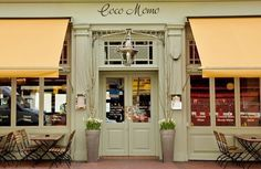 Coco Momo | London-- love their front doors/awnings. Different colors though. Plum and teal green maybe.