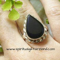 Black Onyx Crystal Gemstone Waterdrop Ring Sterling Silver
