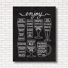 Enjoy Beer Print - Black & White - Bar Poster - Chalkboard - Craft Beer - Inforgaphic - Gift for Him or Her - Beer Lover - Brew pub - Art by HEARTprintshop on Etsy https://www.etsy.com/listing/211599680/enjoy-beer-print-black-white-bar-poster
