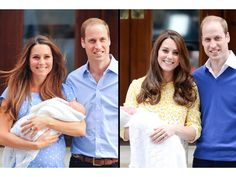 The Duke and Duchess of Cambridge,William and Kate, present their newborn children outside St. Mary's Hospital in London. Right with baby Prince George and left with baby Princess Charlotte.