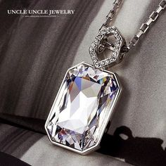 High Quality White Gold Color Luxury Rectangle Clear Austrian Crystal Shinning Queen Design Lady Pendant Necklace Wholesale #Affiliate