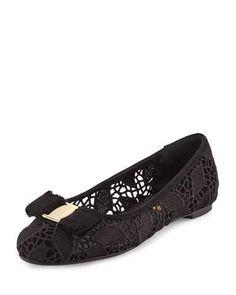 SALVATORE FERRAGAMO Varina Lace Bow Ballerina Flat, Black (Nero). #salvatoreferragamo #shoes #flats