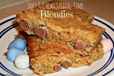 Soft & Chewy Spring-Time Blondies recipe from ThisSillyGirlsLife.com