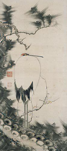 Crane scroll. Ito Jakuchu. Japan. Edo period. Tokyo National Museum.