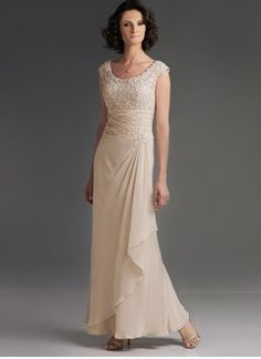 A-Line/Princess Scoop Neck Floor-Length Chiffon Mother of the Bride Dress With Ruffle Lace Cascading Ruffles