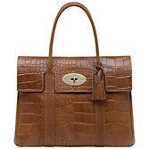 Mulberry Bayswater Croc Print Shoulder Handbag, Oak