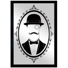 Try out a dapper new look with this whimsical wall mirror, printed with playful mustachioed motif. Product: Wall mirror