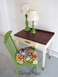 dipped leg desk with fun green chair from twice nice