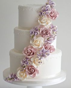 Classic 3 Tier wedding cake with elegant sugar flowers