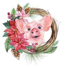 Christmas Mood, Vintage Christmas, Watercolor Animals, Watercolor Art, Pig Crafts, Art Mignon, Pig Art, Cute Piggies, Little Pigs