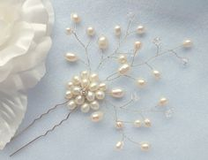Adonia - Bridal Freshwater Pearl Flower Hair Pin Silver or Gold