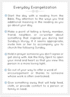 """Everyday Evangelization"" ideas. #Catholic #Evangelization #Catholic #Printable"