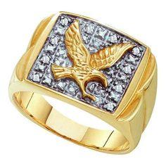 Giu Giu Jewelry Men's Yellow Gold Eagle Cluster Diamond Ring