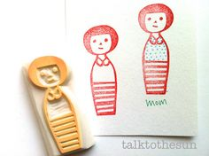 family rubber stamp  hand carved rubber stamp  by talktothesun. available at www.talktothesun.etsy.com