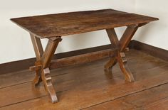 MESDA Sawbuck Table, Moravian Style with Wedged Tusk Tenons