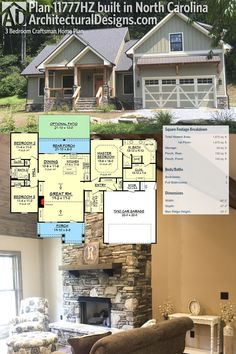 Architectural Designs 3 Bed Craftsman House Plan comes to life! Our client built this home in North Carolina and added a bonus room over the garage. More photos online in our client photo albu Pole Barn House Plans, Pole Barn Homes, Craftsman Style House Plans, Dream House Plans, Small House Plans, Dream Houses, Built In Lockers, Built In Pantry, Home Theatre