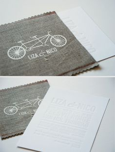 The coolest white letterpressed wedding invitation in a beautiful hand stitched, hand silkscreened pocket!