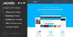 Jacked - Creative Wordpress Theme by KL-Webmedia   Overview Containing more than fifteen different layouts.Jacked WordPress theme can be used for multi-purpose websites. Wether y