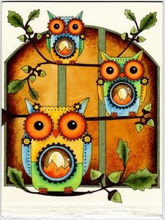 Steampunk Mechanical Owls with Acorns Original Painting via Etsy