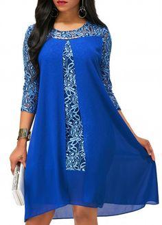 Lace Patchwork Royal Blue Asymmetric Hem Dress on sale only US$34.42 now, buy cheap Lace Patchwork Royal Blue Asymmetric Hem Dress at liligal.com