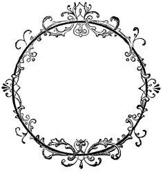 dessins à imprimer shabby: cadre rond avec arabesques