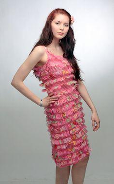 Designer crochet lace wedding ruffled boho shabby by RuchkiKruchkI, $800.00