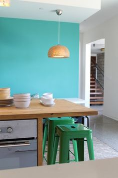 turquoise kitchen wall