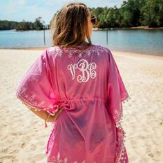 Our new Monogrammed Pom Pom Beach and Pool Coverup will be a show stopper at the beach, lake or pool this summer, vacation and travel season. 100% cotton. www.beaujax.com