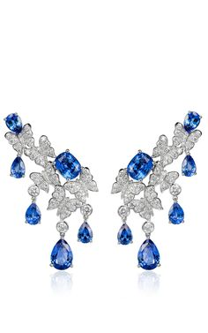 18 K White Gold Dancing Butterfly Sapphire Earrings by VANLELES  for Preorder on Moda Operandi