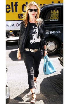 Kate Moss for Topshop satin top, worn over an Amy Winehouse T-shirt and skinny jeans.  Kate Moss for Topshop Striped Satin Top, $60, available at NET-A-PORTER; K.Jacques St. Tropez Epicure, $261.57, available at K.Jacques St. Tropez.