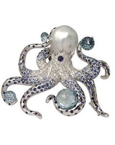 Marchak : Broche Pieuvre Or gris, diamants, saphirs, aigues-marines, perle baroque.