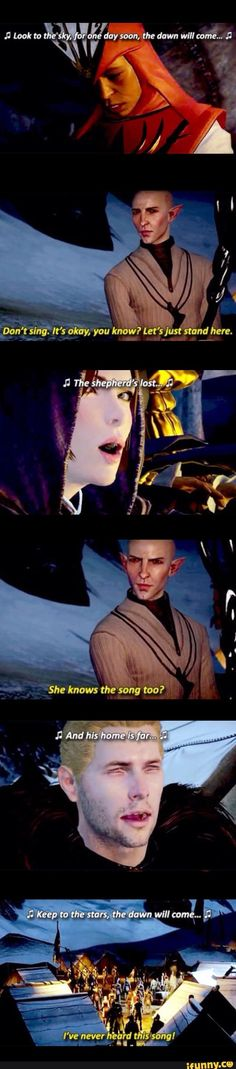 dragonage, solas, thedawnwillcome - I am willing to bet this song has some meaning to Solas's past