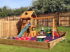 Hillside Playhouse - Kid Playground Backyard - Re-Wilding Backyard Playset, Backyard Trampoline, Backyard Playground, Playground Design, Playground Ideas, Sloped Yard, Sloped Backyard, Backyard For Kids, Kids Yard
